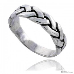 Sterling Silver Braided Wedding Band Ring