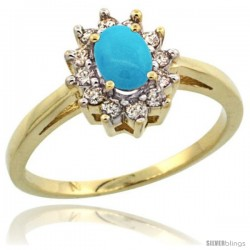 10k Yellow Gold Sleeping Beauty Turquoise Diamond Halo Ring Oval Shape 1.2 Carat 6X4 mm, 1/2 in wide