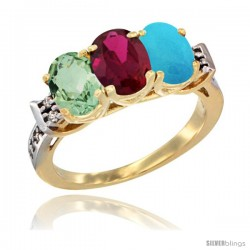 10K Yellow Gold Natural Green Amethyst, Ruby & Turquoise Ring 3-Stone Oval 7x5 mm Diamond Accent