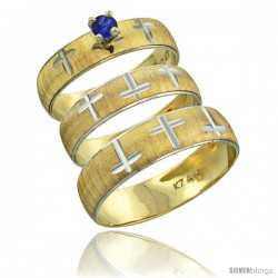 10k Gold 3-Piece Trio Blue Sapphire Wedding Ring Set Him & Her 0.10 ct Rhodium Accent Diamond-cut Pattern -Style 10y508w3