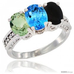 14K White Gold Natural Green Amethyst, Swiss Blue Topaz & Black Onyx Ring 3-Stone 7x5 mm Oval Diamond Accent