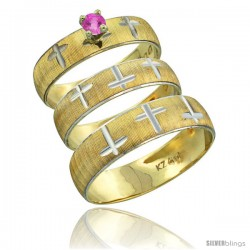 10k Gold 3-Piece Trio Pink Sapphire Wedding Ring Set Him & Her 0.10 ct Rhodium Accent Diamond-cut Pattern -Style 10y508w3
