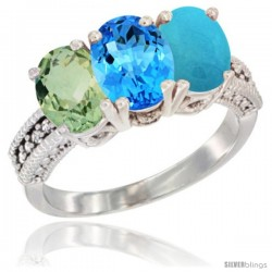 14K White Gold Natural Green Amethyst, Swiss Blue Topaz & Turquoise Ring 3-Stone 7x5 mm Oval Diamond Accent