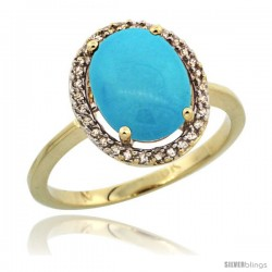 10k Yellow Gold Diamond Sleeping Beauty Turquoise Halo Ring 2.4 carat Oval shape 10X8 mm, 1/2 in (12.5mm) wide