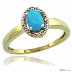10k Yellow Gold Diamond Halo Sleeping Beauty Turquoise Ring 0.75 Carat Oval Shape 6X4 mm, 3/8 in (9mm) wide