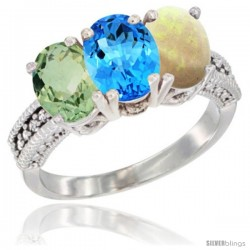 14K White Gold Natural Green Amethyst, Swiss Blue Topaz & Opal Ring 3-Stone 7x5 mm Oval Diamond Accent