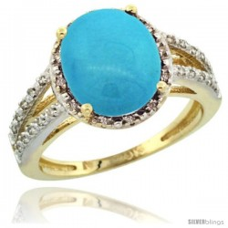 10k Yellow Gold Diamond Halo Sleeping Beauty Turquoise Ring 2.85 Carat Oval Shape 11X9 mm, 7/16 in (11mm) wide