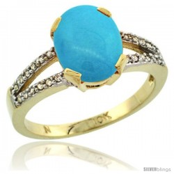 10k Yellow Gold and Diamond Halo Sleeping Beauty Turquoise Ring 2.4 carat Oval shape 10X8 mm, 3/8 in (10mm) wide