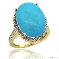 10k Yellow Gold Diamond Sleeping Beauty Turquoise Ring 13.56 Carat Oval Shape 18x13 mm, 3/4 in (20mm) wide