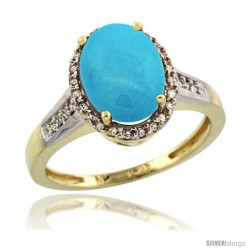 10k Yellow Gold Diamond Sleeping Beauty Turquoise Ring 2.4 ct Oval Stone 10x8 mm, 1/2 in wide