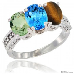14K White Gold Natural Green Amethyst, Swiss Blue Topaz & Tiger Eye Ring 3-Stone 7x5 mm Oval Diamond Accent