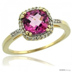 14k Yellow Gold Diamond Pink Topaz Ring 1.5 ct Checkerboard Cut Cushion Shape 7 mm, 3/8 in wide
