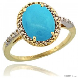 10k Yellow Gold Diamond Sleeping Beauty Turquoise Ring 2.4 ct Oval Stone 10x8 mm, 1/2 in wide -Style Cy918111