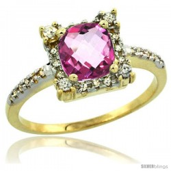 14k Yellow Gold Diamond Halo Pink Topaz Ring 1.2 ct Checkerboard Cut Cushion 6 mm, 11/32 in wide