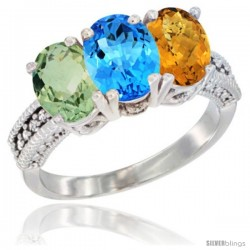 14K White Gold Natural Green Amethyst, Swiss Blue Topaz & Whisky Quartz Ring 3-Stone 7x5 mm Oval Diamond Accent