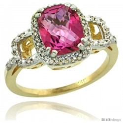 14k Yellow Gold Diamond Pink Topaz Ring 2 ct Checkerboard Cut Cushion Shape 9x7 mm, 1/2 in wide