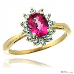 14k Yellow Gold Diamond Halo Pink Topaz Ring 0.85 ct Oval Stone 7x5 mm, 1/2 in wide