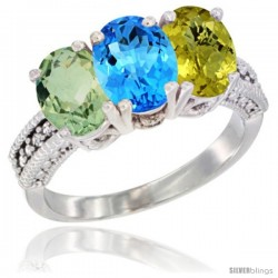 14K White Gold Natural Green Amethyst, Swiss Blue Topaz & Lemon Quartz Ring 3-Stone 7x5 mm Oval Diamond Accent