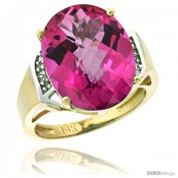 14k Yellow Gold Diamond Pink Topaz Ring 9.7 ct Large Oval Stone 16x12 mm, 5/8 in wide