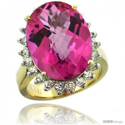 14k Yellow Gold Diamond Halo Pink Topaz Ring 10 ct Large Oval Stone 18x13 mm, 7/8 in wide
