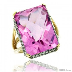 14k Yellow Gold Diamond Pink Topaz Ring 14.96 ct Emerald shape 18x13 mm Stone, 13/16 in wide