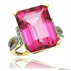 14k Yellow Gold Diamond Pink Topaz Ring 12 ct Emerald Shape 16x12 Stone 3/4 in wide