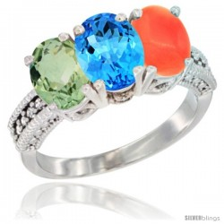 14K White Gold Natural Green Amethyst, Swiss Blue Topaz & Coral Ring 3-Stone 7x5 mm Oval Diamond Accent