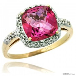 14k Yellow Gold Diamond Pink Topaz Ring 2.08 ct Cushion cut 8 mm Stone 1/2 in wide