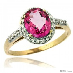 14k Yellow Gold Diamond Pink Topaz Ring Oval Stone 8x6 mm 1.17 ct 3/8 in wide