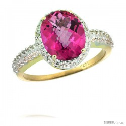 14k Yellow Gold Diamond Pink Topaz Ring Oval Stone 10x8 mm 2.4 ct 1/2 in wide