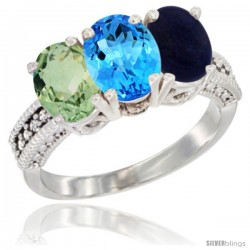 14K White Gold Natural Green Amethyst, Swiss Blue Topaz & Lapis Ring 3-Stone 7x5 mm Oval Diamond Accent
