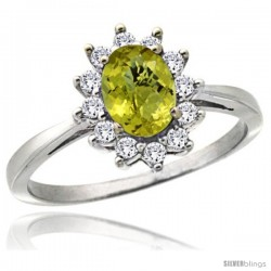 10k White Gold Diamond Halo Lemon Quartz Ring 0.85 ct Oval Stone 7x5 mm, 1/2 in wide