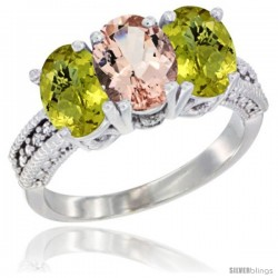 10K White Gold Natural Morganite & Lemon Quartz Sides Ring 3-Stone Oval 7x5 mm Diamond Accent