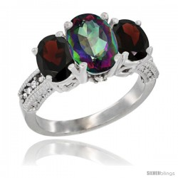 14K White Gold Ladies 3-Stone Oval Natural Mystic Topaz Ring with Garnet Sides Diamond Accent