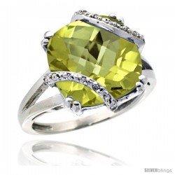 10k White Gold Diamond Lemon Quartz Ring 7.5 ct Cushion Cut 12 mm Stone, 1/2 in wide