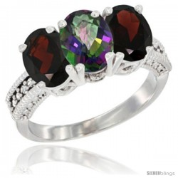 14K White Gold Natural Mystic Topaz & Garnet Sides Ring 3-Stone 7x5 mm Oval Diamond Accent