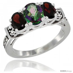 14K White Gold Natural Mystic Topaz & Garnet Ring 3-Stone Oval with Diamond Accent
