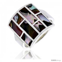 "Sterling Silver Square-shaped Shell Ring, w/Brown & White Mother of Pearl Inlay, 13/16"" (21 mm) wide"