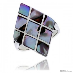 "Sterling Silver Diamond-shaped Shell Ring, w/Colorful Mother of Pearl Inlay, 1 1/8"" (29 mm) wide"