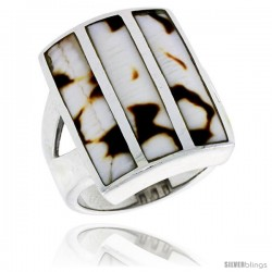 "Sterling Silver Striped Rectangular Shell Ring, w/Brown & White Mother of Pearl Inlay, 7/8"" (23 mm) wide"