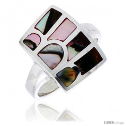 "Sterling Silver Striped Rectangular Shell Ring, w/Colorful Mother of Pearl Inlay, 13/16"" (21 mm) wide"