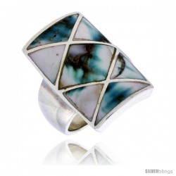 "Sterling Silver Crisscross Rectangular Shell Ring, w/Black & White Mother of Pearl Inlay, 15/16"" (24 mm) wide"