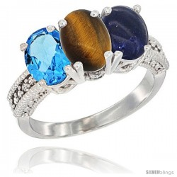 14K White Gold Natural Swiss Blue Topaz, Tiger Eye & Lapis Ring 3-Stone 7x5 mm Oval Diamond Accent