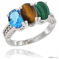 14K White Gold Natural Swiss Blue Topaz, Tiger Eye & Malachite Ring 3-Stone 7x5 mm Oval Diamond Accent