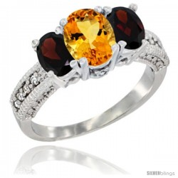 14k White Gold Ladies Oval Natural Citrine 3-Stone Ring with Garnet Sides Diamond Accent
