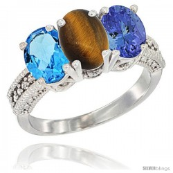 14K White Gold Natural Swiss Blue Topaz, Tiger Eye & Tanzanite Ring 3-Stone 7x5 mm Oval Diamond Accent