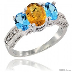 14k White Gold Ladies Oval Natural Whisky Quartz 3-Stone Ring with Swiss Blue Topaz Sides Diamond Accent