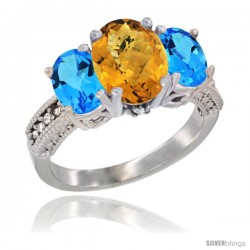 14K White Gold Ladies 3-Stone Oval Natural Whisky Quartz Ring with Swiss Blue Topaz Sides Diamond Accent