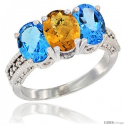 14K White Gold Natural Whisky Quartz & Swiss Blue Topaz Sides Ring 3-Stone 7x5 mm Oval Diamond Accent