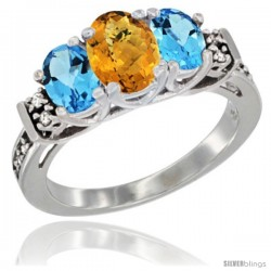 14K White Gold Natural Whisky Quartz & Swiss Blue Topaz Ring 3-Stone Oval with Diamond Accent